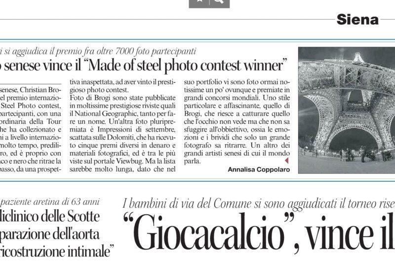 "Fotografo senese vince il ""Made of steel photo contest winner"""