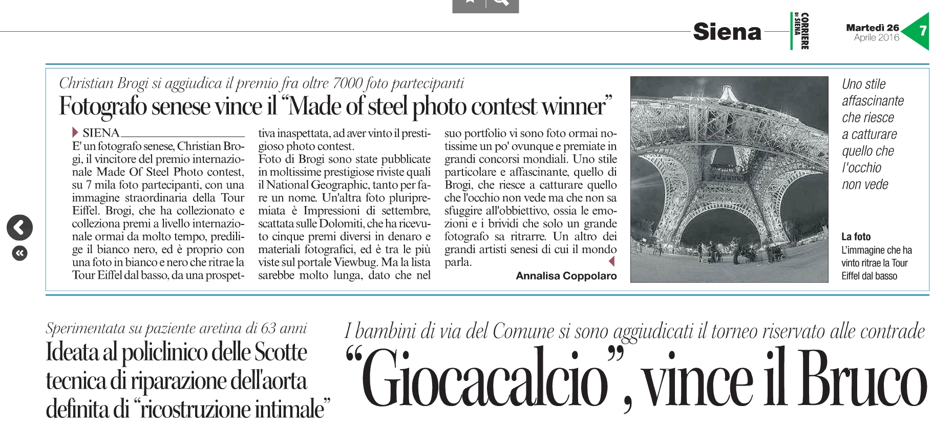 "Fotografo senese vince il ""Made of steel photo contest winner"""