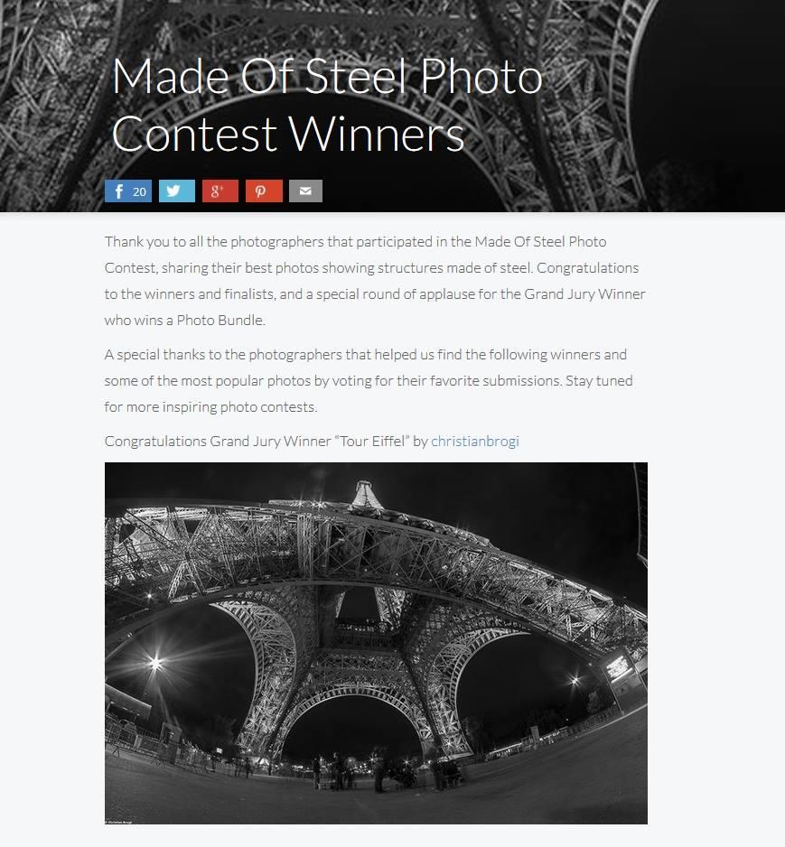 """Christian Brogi si aggiudica il premio fra oltre 7000 foto partecipanti Fotografo senese vince il """"Made of steel photo contest winner"""""""
