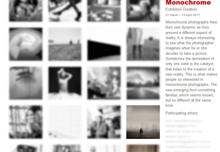 """Exhibition in Athens Photos of CHristian Brogi selected for """"Monochrome"""" festival at the wall blanc Gallery in Athens."""